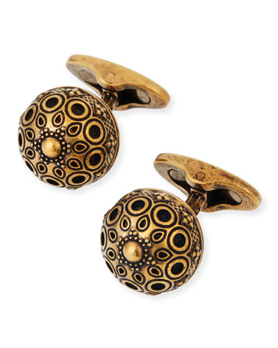 Men's Round Brass Cufflinks