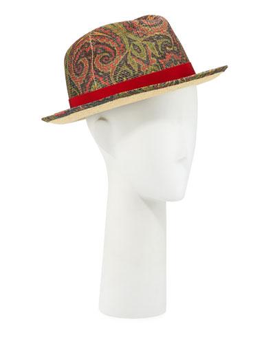 Men's Paisley-Print Panama Hat
