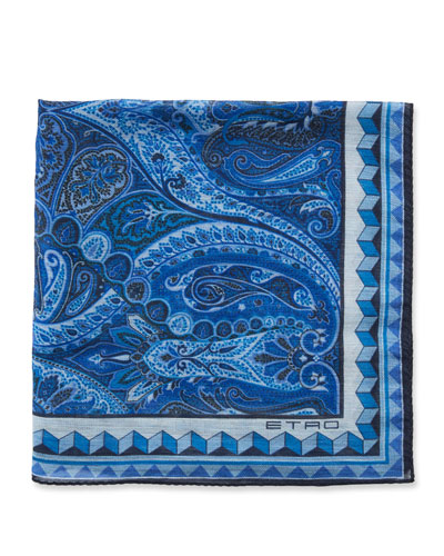 Men's Bangalore Paisley Linen/Silk Pocket Square