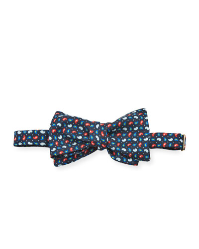 Men's Untied Mini-Paisley Silk Bow Tie