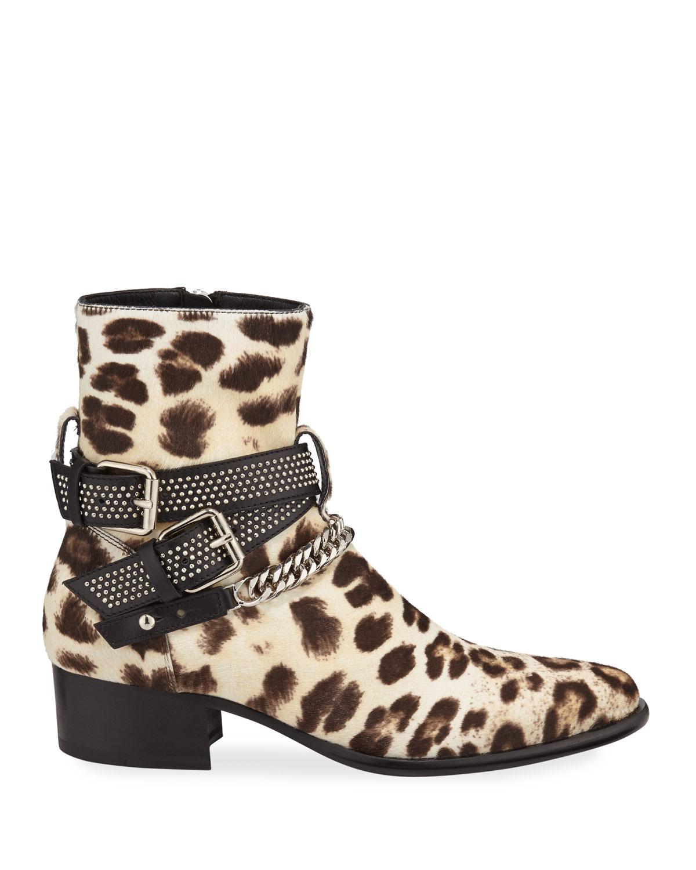 Amiri Men's Leopard-Print Calf Hair