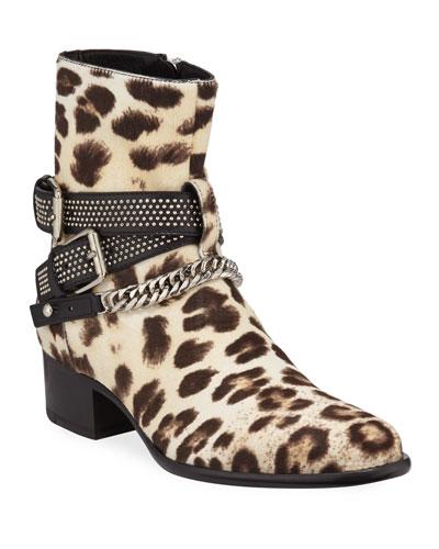 Men's Leopard-Print Calf Hair Chain Moto Boots