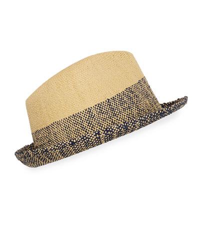 Men's Two-Tone Straw Trilby Hat