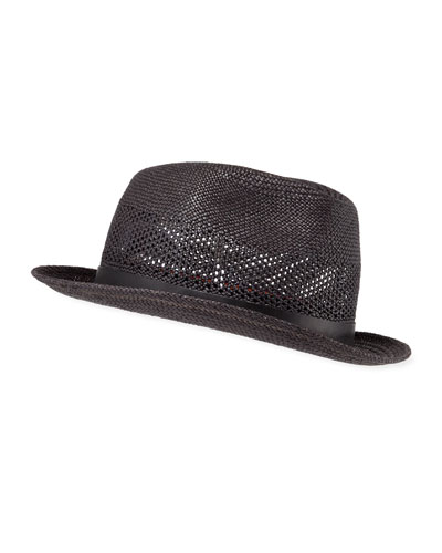 Men's Perforated Straw Panama Trilby Hat