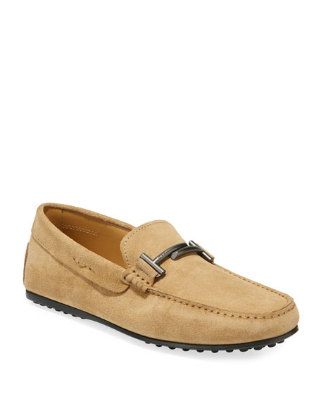 Tod's Men's Double T Slip-On Suede Drivers