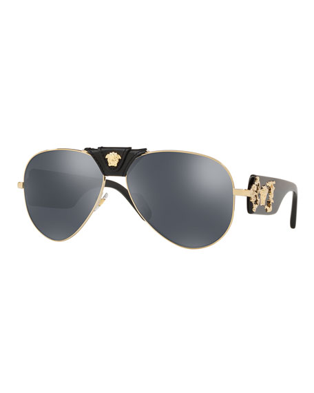 Versace Men's Medusa Leather-Wrap Aviator Sunglasses - Mirror