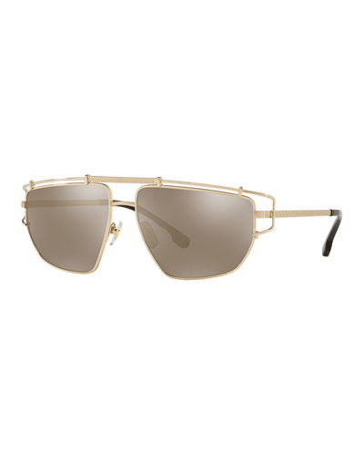 Men's Caged-Trim Metal Aviator Sunglasses