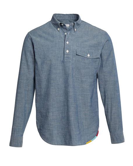 Men's Half-Placket Chambray Shirt