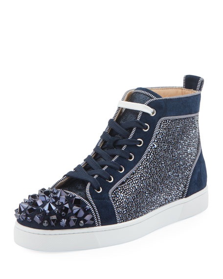 f13dec35c19 Christian Louboutin Men s Louis Mix Mid-Top Spiked Sneakers