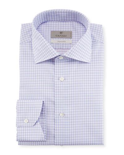 Impeccabile Textured Check-Print Dress Shirt  Purple