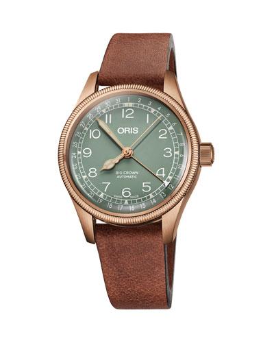 Men's 36mm Big Crown Pointer Date Watch  Green/Bronze