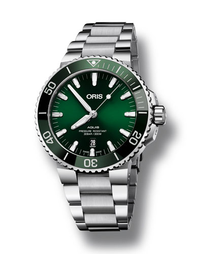 Men's 43.5mm Aquis Automatic Bracelet Watch  Green/Steel