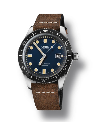 Men's 42mm Diver Watch w/ Leather Strap  Blue/Brown