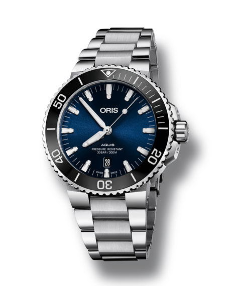 Oris Men's 43.5mm Aquis Automatic Bracelet Watch, Blue/Steel
