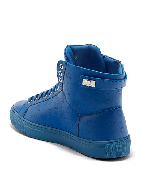 Men's Embossed Leather Turn-Lock High-Top Sneakers