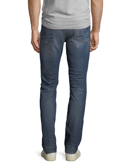 Men's Sartor Slouchy Distressed Skinny Jeans, All City Blue