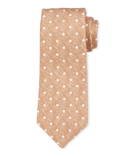 Linen-Look Dot Silk Tie  Beige