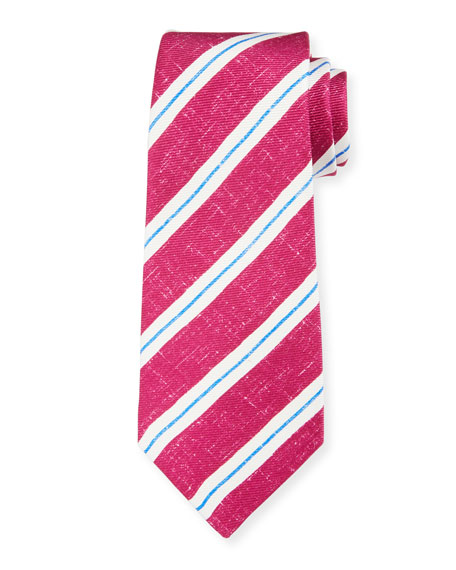 Kiton Men's Linen-Look Stripe Silk Tie, Berry