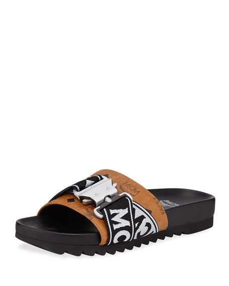 Men's Weaving Buckle-Detail Slide Sandal