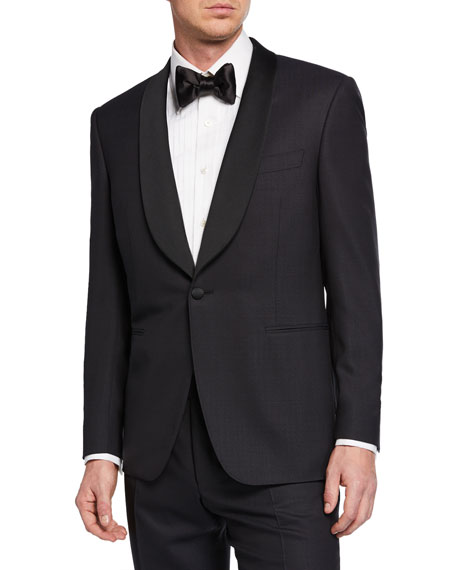 Canali Tops MEN'S TWO-PIECE TUXEDO WITH SHAWL COLLAR