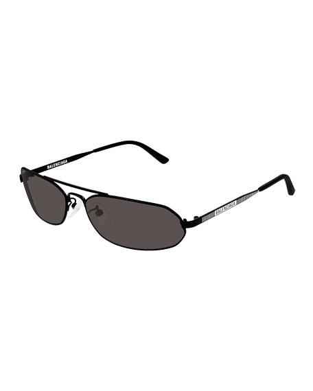 Balenciaga Men's Metal Rectangular Sunglasses