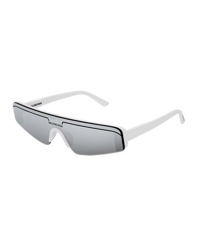 Men's Ski-Style Mirrored Sunglasses