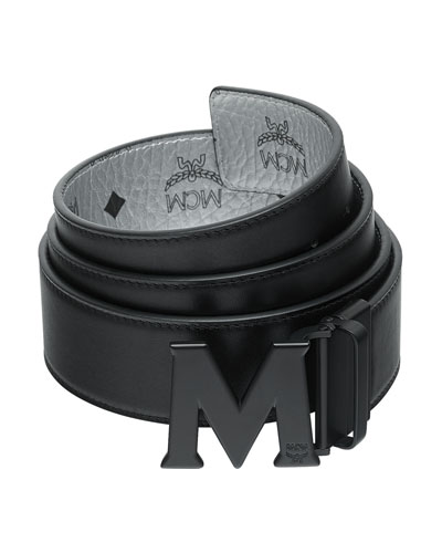 Men's Crown Visetos Reversible M-Buckle Monogram Belt
