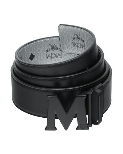Men s Crown Visetos Reversible M-Buckle Monogram Belt 1b45fc3500e67