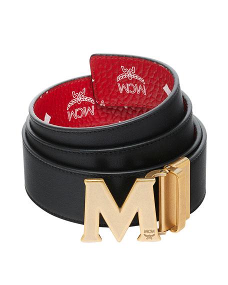bdd7f32feaa MCM Men s Visetos Reversible M-Buckle Monogram Belt