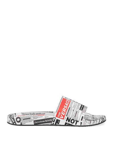 Men's Tabloid Print Slide Sandals