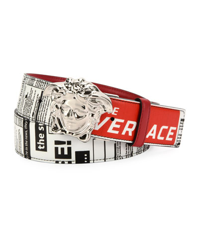 Men's Tabloid-Print Medusa-Buckle Belt