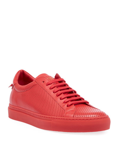 Men's Urban Street Perforated Leather Low-Top Sneakers