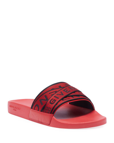 Men's Multi Logo-Webbing Rubber Slide Sandals