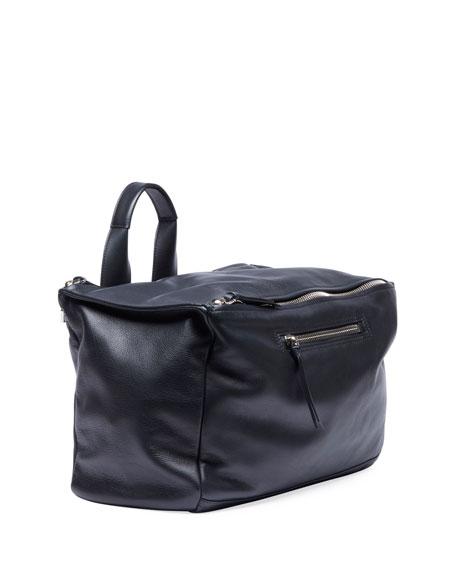Leather Duffel Bag w/ Logo Webbing Strap