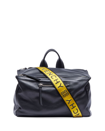 Leather Duffel Bag w/ Logo Webbing Strap