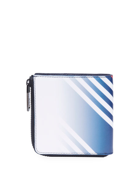 Men's Lines-Print Canvas Zip Wallet