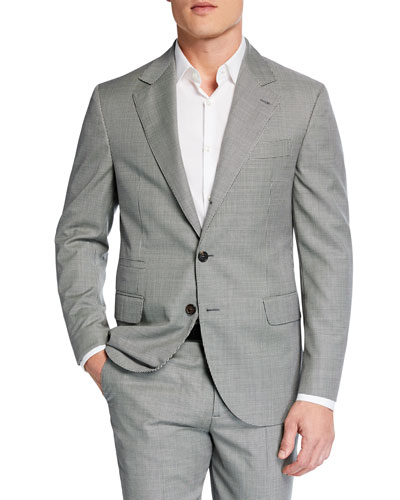 Men's Micro-Houndstooth Two-Piece Wool Suit