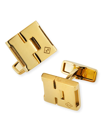 Duke Square Gold-Plated Cufflinks