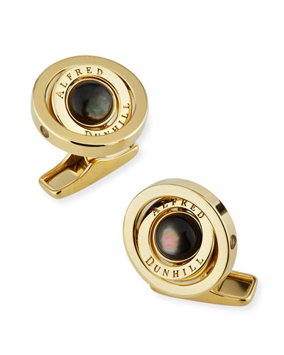 Gyro Cufflinks with Black Mother of Pearl