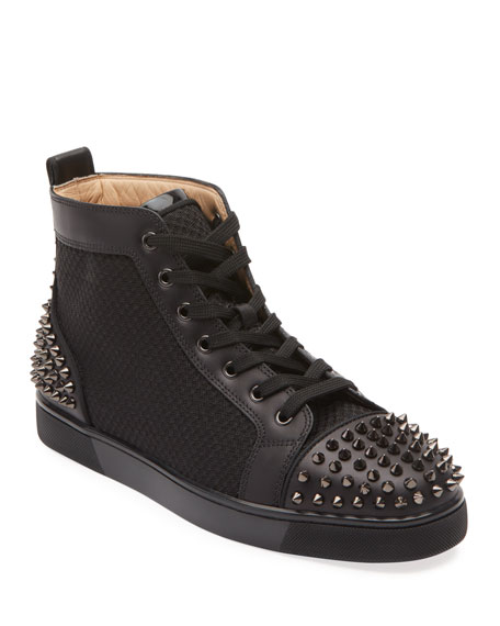 Men's Lou Spiked Leather High-Top Sneakers