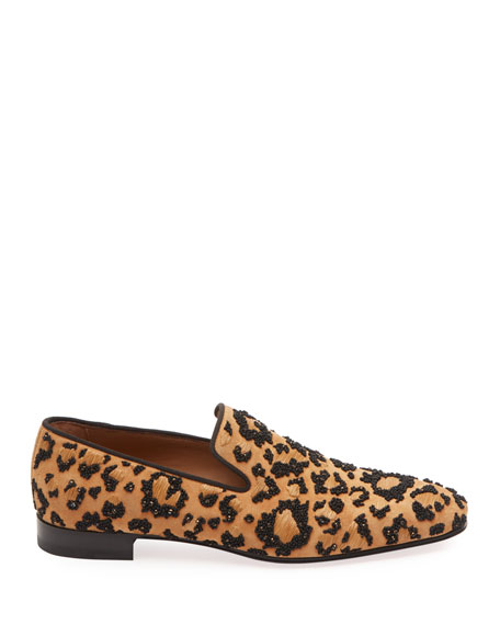 CHRISTIAN LOUBOUTIN MEN'S LEOLION LEOPARD-PRINT SLIP-ON LOAFERS,PROD144920048