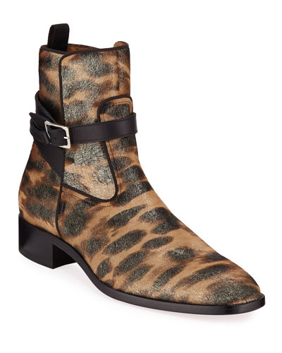 8a1ae293df3a Men's Kicko Leopard-Print Red Sole Boots Quick Look. Christian Louboutin