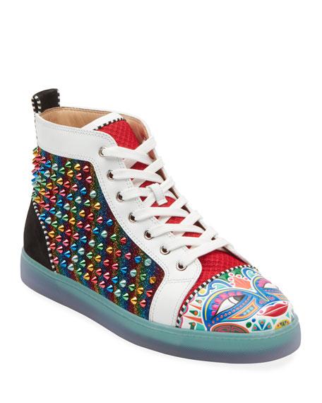 hot sale online aca68 b76b5 Men's Tribalouis Multicolor Spiked High-Top Sneakers