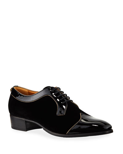 1772414edc5 Promotion Men s Thune Velvet Lace-Up Shoes w  Patent Leather Trim Quick  Look. Gucci