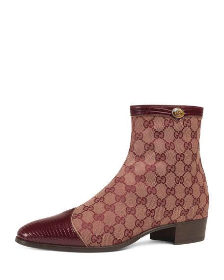278dc58c998 Gucci Men s Plata Original Canvas Ankle Boots