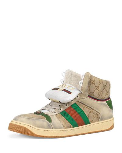 4f19608e025 Men s Screener High-Top GG Canvas Sneakers Quick Look. Gucci