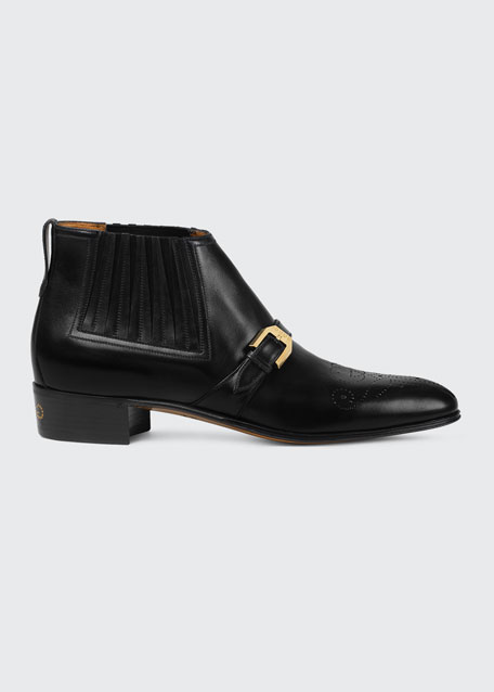 5e99e597b Gucci Men's Worsh Leather Ankle Boots