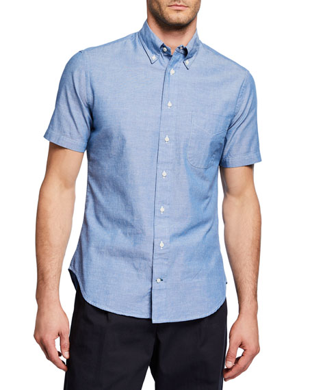 Men's Chambray Short-Sleeve Woven Shirt