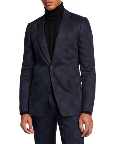 Men's Tonal Swirl Linen-Blend Two-Piece Suit