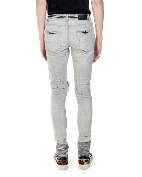 Men's Straight-Fit Distressed Broken Denim Jeans